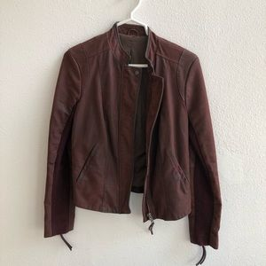 Free People faux leather maroon jacket